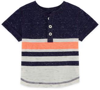 Okie Dokie Short Sleeve Stripe Henley Shirt - Baby Boy NB-24M