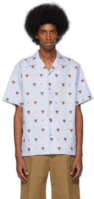 Gucci Blue Embroidered Short Sleeve Shirt