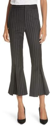 Frame Pleated Flare Hem Wool Blend Pants