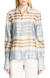Co Wide Cuff Shimmer Plaid Wool & Silk Shirt