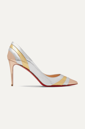 Christian Louboutin Eklectica 85 Striped Mirrored-leather Pumps - Silver