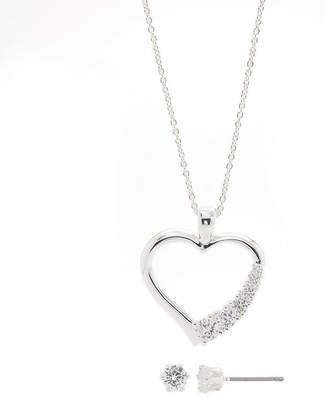 SPARKLE ALLURE Sparkle Allure Side Cubic Zirconia Heart Set