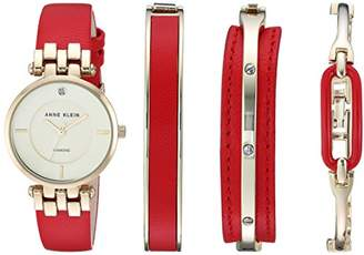 Anne Klein Women's AK/2684RDST Diamond-Accented Gold-Tone and Red Leather Strap Watch and Bracelet Set