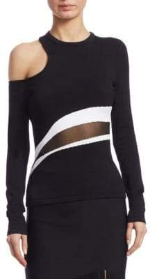 Cushnie et Ochs Long-Sleeve Cold-Shoulder Top