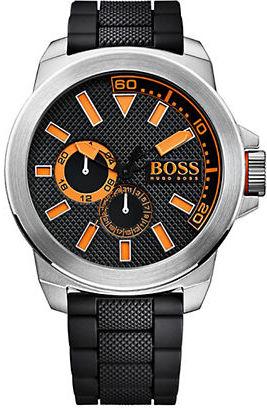 Hugo Boss Boss Orange New York Stainless Steel Black Silicone Strap Watch $185 thestylecure.com
