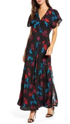 Leith Savvy Floral V-Neck Maxi Dress