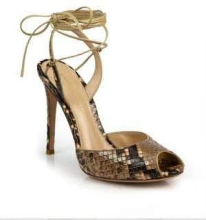 a46c1cca8b ... Gianvito Rossi Python-Embossed Leather Peep Toe Ankle-Wrap Sandals