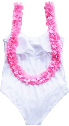 Goodnight Macaroon 'Eve' Pink Feather Trim Swimsuit