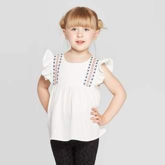 Art Class Toddler Girls' Ruffle Sleeve Embroidered Blouse - art classTM White