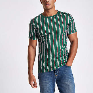 River Island Dark green vertical stripe T-shirt