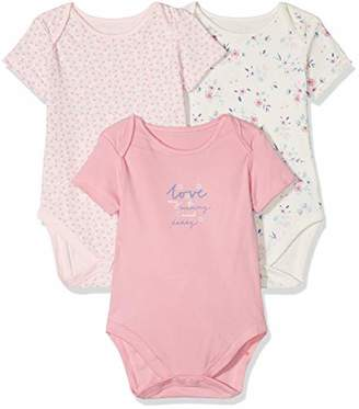 Mothercare Baby Girls Mummy & Daddy 3 Pack Short Sleeve Bodysuit (Pale Pink), (Manufacturer Size: 74)