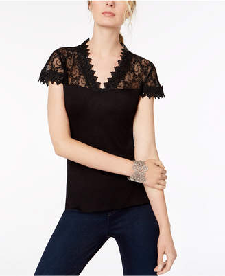 INC International Concepts I.n.c. Lace-Trim Top, Created for Macy's