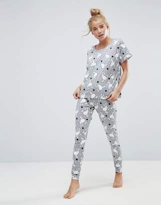 Asos DESIGN Spot Poodle Tee & Legging Pajama Set