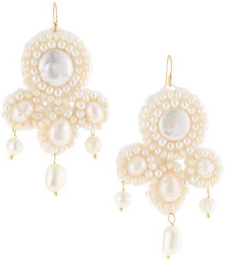 Panacea Pearl Beaded Statement Earrings