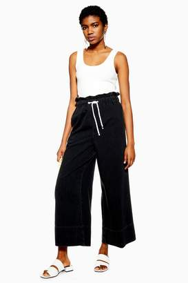 Topshop Washed Black Draw Tie Crop Jeans