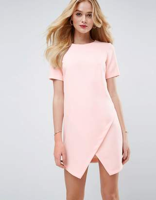 Asos DESIGN Asymmetric Clean Shift mini dress with Short Sleeve