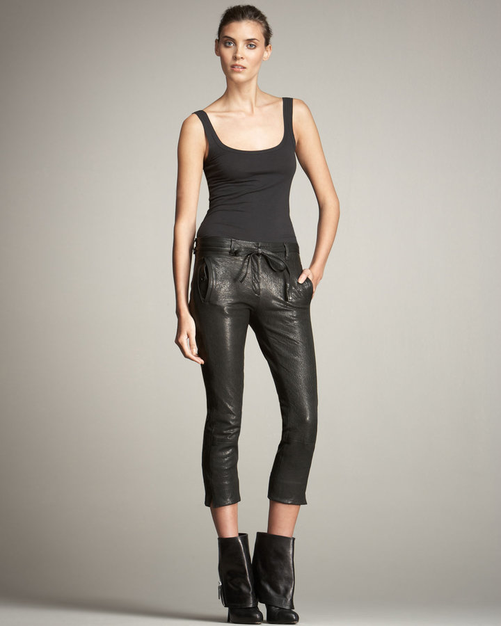 Ann Demeulemeester Cropped Leather Trousers