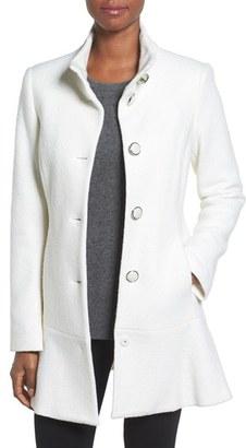 kensie Single Breasted Ruffle Hem Coat $228 thestylecure.com