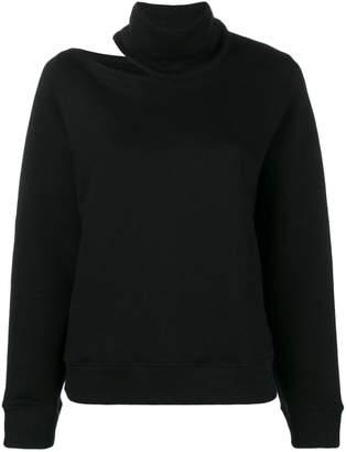 Zilver High Neck Open Shoulder Sweatshirt in Organic Cotton