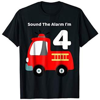 Fire Fighter Truck 4 Year Old Birthday Shirt | 4th Bday