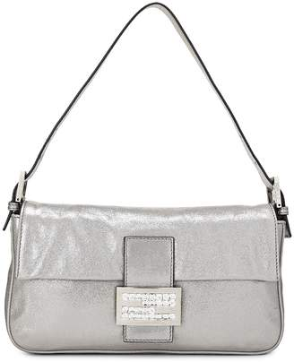 f7a8c1f52ab8 ... What Goes Around Comes Around · Fendi Metallic Silver Fabric  Embellished Baguette