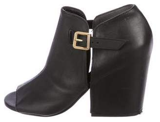 Robert Clergerie Leather Peep-Toe Ankle Boots