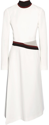 Mugler - Cutout Velvet And Crepe-trimmed Ponte Midi Dress - White $1,940 thestylecure.com