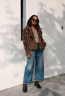 Azalea Leopard Notched Collar Crop Coat