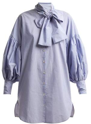 Hillier Bartley - Tie Neck Pinstripe Cotton Shirtdress - Womens - Blue White