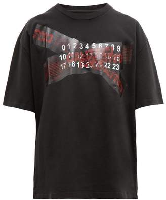 Maison Margiela Oversized Caution Print Cotton T Shirt - Mens - Black