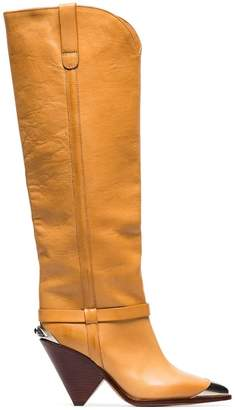 Isabel Marant Lenskee 90 steel toe leather cowboy boots