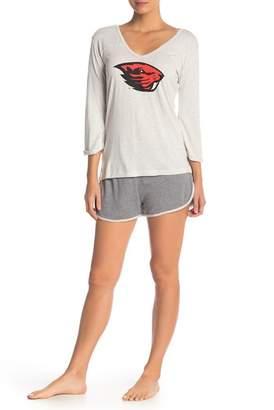Munki Munki Oregon State Long Sleeve Tee & Knit Shorts 2-Piece Pajama Set