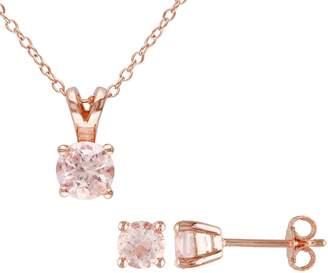 Sterling Rosetone Morganite Pendant & Earring Set
