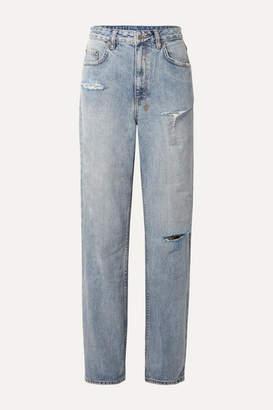 Ksubi + Kendall Jenner Playback Distressed High-rise Straight-leg Jeans - Light denim