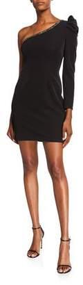 Aidan Mattox One Shoulder Beaded Trim Mini Dress