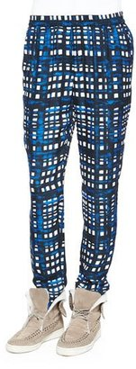 Thakoon Addition Plaid Straight-Leg Silk-Blend Pants