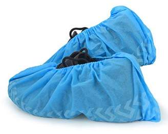Personal Touch Health Care Apparel Cleaing Heavy Duty Non Slip Machine-made Disposable Shoe Covers with Tread Pattern and Strip on Sole 300 Pieces 150 Pairs