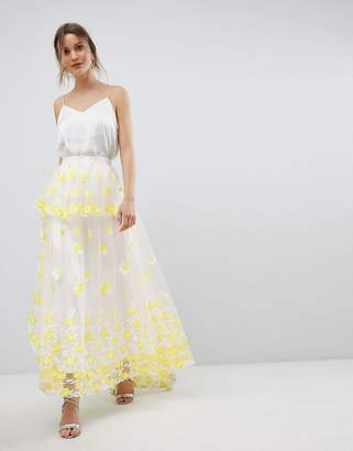 Asos Design Yellow Floral Embroidered Lace Maxi Skirt Co-Ord