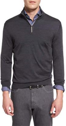 Ermenegildo Zegna 1/4-Zip High-Performance Merino Wool Sweater, Charcoal $745 thestylecure.com