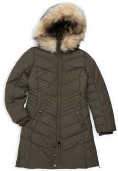Girl's Chelsea Hooded Faux Fur Trimmed Puffer Coat