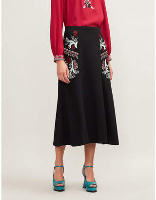 Vilshenko Ally embroidered stretch-wool midi skirt