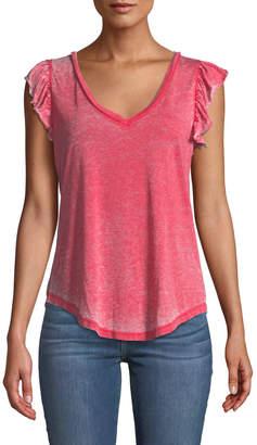 Chaser Distressed Flutter-Sleeve V-Neck Tee, Pink