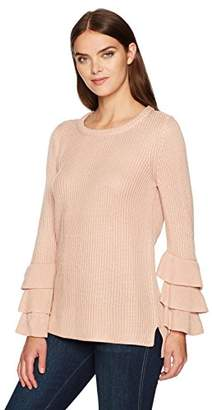 Calvin Klein Women's Crewneck with 3 Ruffle Sleeve