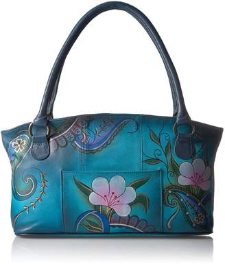 Anuschka Anna by Hand Painted Wide Tote Denim Paisley Floral, Dpf-Denim Paisley Floral