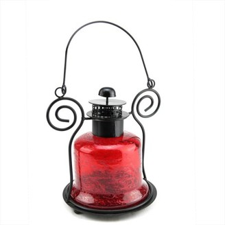"""Northlight 9.25"""" Decorative Distressed Red Bell Shaped Glass Tea Light Candle Holder Lantern"""