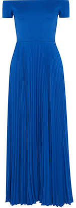 Alice + Olivia Alice Olivia - Ilaria Off-the-shoulder Stretch-jersey And Plissé-chiffon Dress - Blue