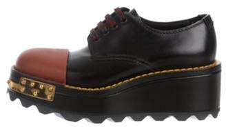 Prada Leather Platform Oxfords Black Leather Platform Oxfords