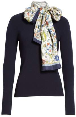 Tory Burch Laura Rib Knit Sweater & Silk Scarf