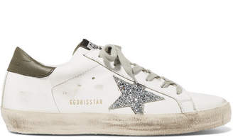 ad27234ea321 Golden Goose Superstar Distressed Glitter-trimmed Leather Sneakers - White