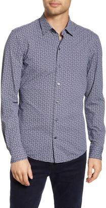 BOSS Robbie Sharp Fit Floral Print Button-Up Performance Shirt